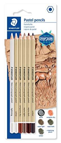 STAEDTLER Mars Lumograph 100P-SBK6. Pack de 6 lápices pastel de colores surtidos