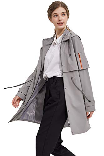 Orolay Women's Long Windbreaker Hooded Light Jacket Active Outdoor Anoraks Alloy S