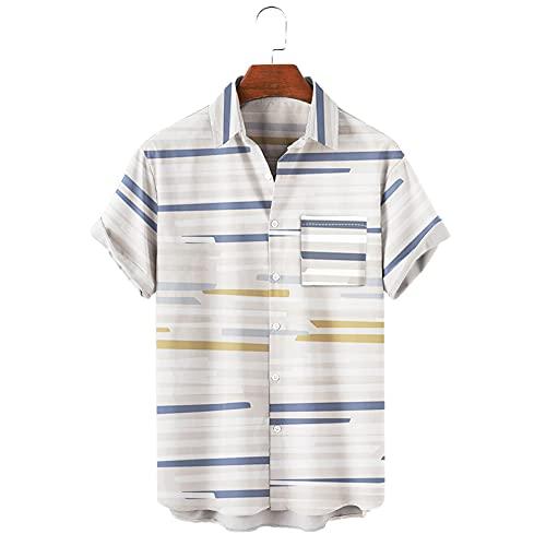 Camisa de Hombre a Rayas de Moda de Gran tamao de un Solo Pecho Suelta Tendencia Casual bsica Camisa de Manga Corta Tops Verano 4XL