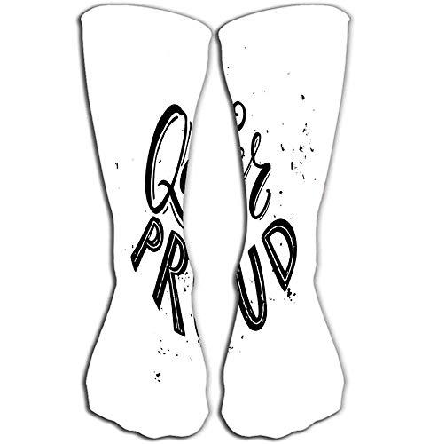 lucies TeeHee Neuheit Baumwolle Knie High Fun Socken 5er-Pack für Frauen queer stolz schwarz weiß Typografie grung Textur Homosexuell Lesben Stolz Slogan