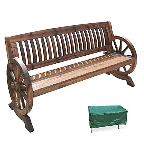 Asiento para 2 personas Banco de ruedas de carro de madera para...