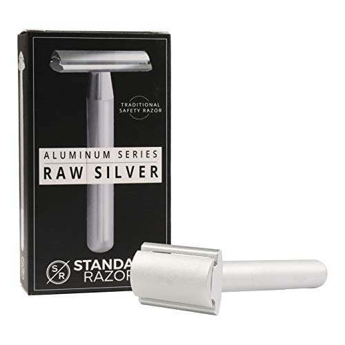 Standard Razors Aluminum Double Edge Safety Razor - Raw Silver | Luxury Razor for Men | Three Piece Double Edge Razor | Modern Design, Classic Shave