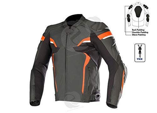 Motorrad-Lederjacke für Männer/Frauen Motorradjacken in schwarz und orange Motorrad Kreuzfahrt Jacken für Männer/Frauen gepanzerte Jacke zens Leder (2XL)
