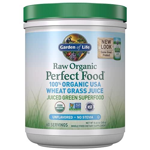 Garden of Life Raw 100% Organic Perfect Food USA Wheat Grass Juice - Green Superfood Powder, 60 Servings - Stevia & Gluten Free, Non-GMO, Vegan, Whole Food Dietary Supplement, 8.46 Oz
