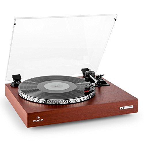 auna TT-931 Plattenspieler Schallplattenspieler, Auto-Start, Riemenantrieb, Pitch einstellbar, Holz-Finish USB, Bluetooth, 2 Geschwindigkeiten von 33&45 Umdrehungen pro Minute, Rostbraun