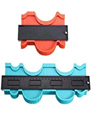 2 Pack Plastic Contour Gauge Profile Gauge Duplicator Copy Irregular Shapes Tracing Template Measuring Tool for Fit and Easy Cutting (10 Inch Green 5 Inch Red)