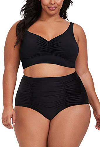 Kisscynest Women's Plus Size High Waist Swimsuit V Neck Ruched Bathing Suits Swimwear Black XL