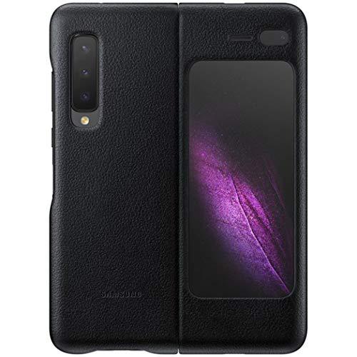 Custodia a portafoglio in pelle per Samsung Galaxy Fold con tasca interna per carte di credito, in vera pelle di vitello italiana, colore: nero