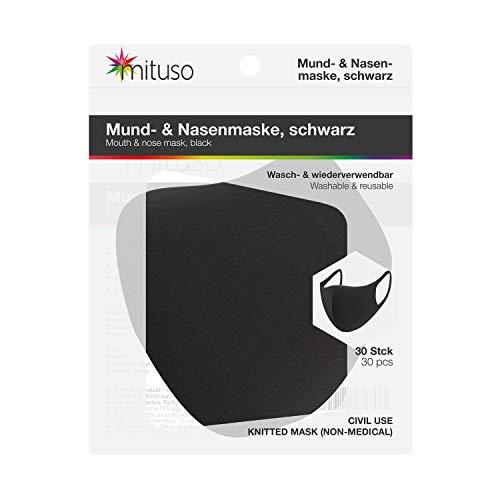 mituso Mund- und Nasenmaske aus Polyester, Wiederverwendbare Maske (30 Stück, schwarz)