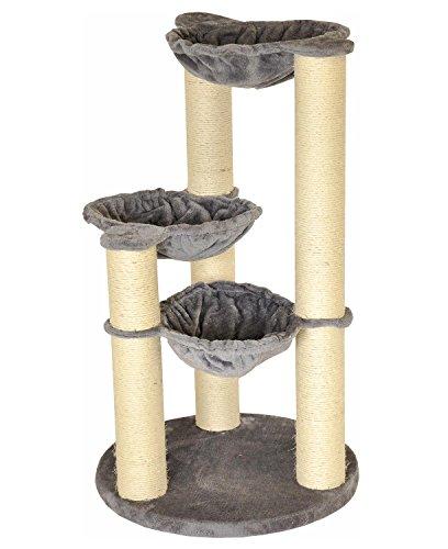 nanook Kratzbaum Holiday - 3 Liegemulden viele Kratzstämme 11 cm Ø - stabil und robust - grau