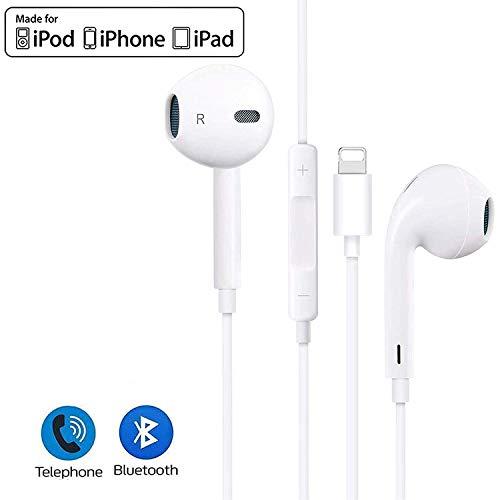 In-Ear Kopfhörer für iPhone 11 HiFi-Audio Stereo Kopfhörer Ohrhörer, mit Mikrofon und Lautstärkeregler, kompatibel mit iPhone 11 Pro Max/XS Max/XS/X/XR/8P/8/7P/7, unterstützt alle iOS Systeme-Weiß