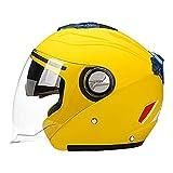 Sharplace Cascos de Moto Abatibles Casco de Cara Abierta de Doble Visera para Un Adulto Unisex - Amarillo