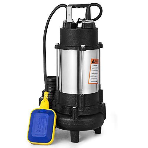 VEVOR Bomba de Inmersión para Aguas Sucias Bomba Sumergible de Aguas Residuales VD-750F Bomba de Inmersión para Aguas Residuales Bomba de Agua Sucia