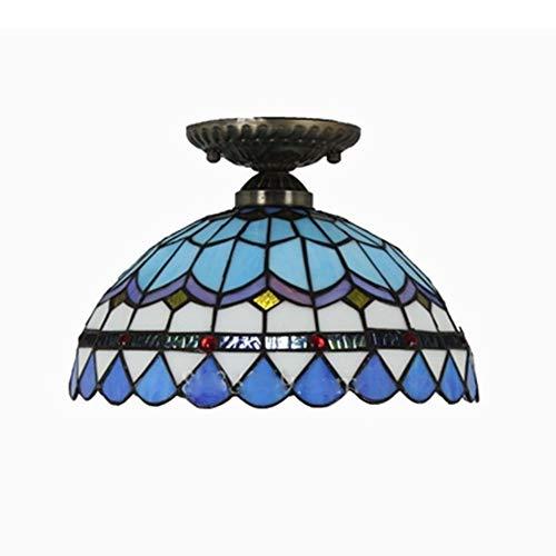 WFBD-CN luci a LED per Esterni Lampada da soffitto Decorativa Fatta a Mano con Vetro colorato in Stile Tiffany luci LED per Barche