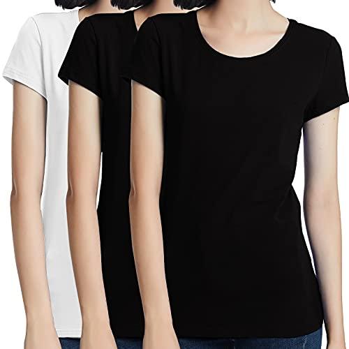 KELOYI Camisetas Mujer Baratas Verano Negras y Blanca Manga Corta de Algodón Cuello Redondo, Pack de 3 - S