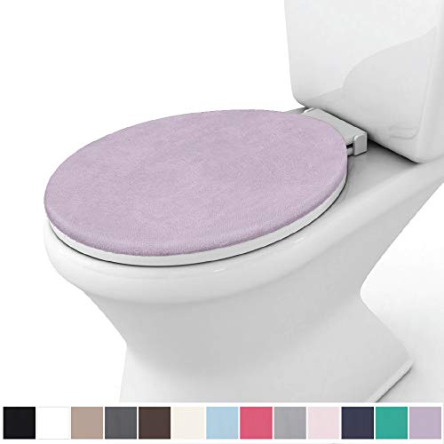 Gorilla Grip Original Thick Memory Foam Bath Room Toilet Lid Seat Cover, 19.5 Inch x 18.5 Inch Size, Machine Washable, Plush Fabric Covers, Fits Most Size Toilet Lids for Kids Bathroom, Soft Purple
