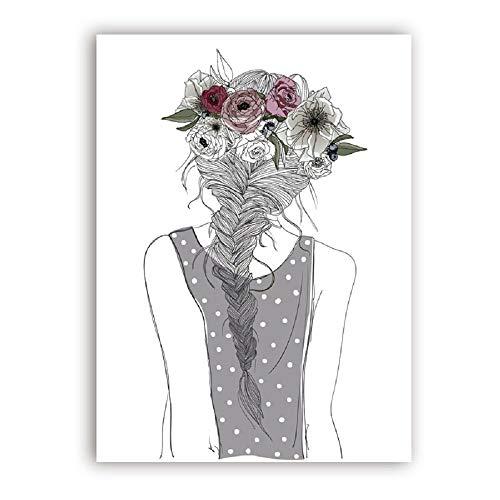 Chica con flores Impresión y póster de arte de pared, Chica linda con trenza y flores Pintura en lienzo Chica Habitación Decoración de la pared 51x71cm Sin marco
