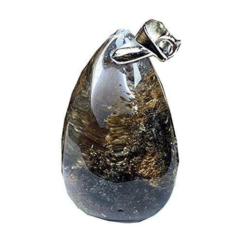Colgante de cuarzo fantasma natural fantasma para mujeres hombres 27x17x12mm gota de agua cristalina piedra transparente collar colgante joyería AAAAA