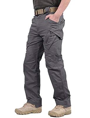 TACVASEN Men's Tactical Ops Tactical Pants Climbing Hiking Hunting Cargo Pants Trousers Gray,34