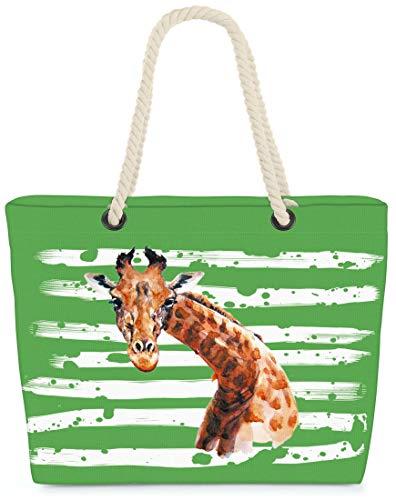 VOID XXL Strandtasche Giraffe Shopper Tasche 58x38x16cm 23L Beach Bag Safari Afrika, Kissen Farbe:Grün