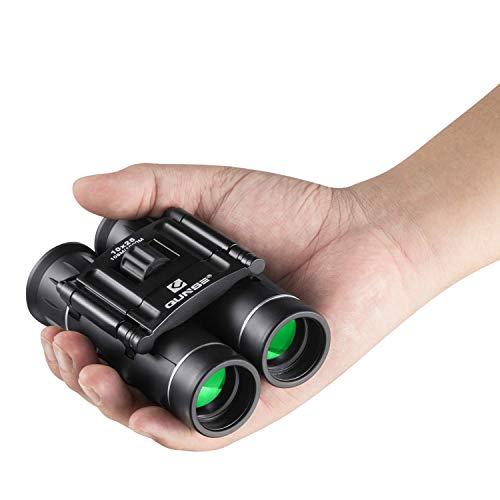 QUNSE Fernglas 10x25 Klein Ferngläser Kompakt Wasserdicht Feldstecher für Kinder Erwachsene mit Tragetasche, Mini Teleskop für Vogelbeobachtung, Wandern, Jagd, Sightseeing