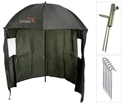 NECO Angelschirm Ø220 cm Fischerschirm mit Umhang Schirmständer und Erdnägel, Schutz Regen Wind und UV Sonnen, 2 Männer und Karpfengepäck + GRATIS Etui 15021