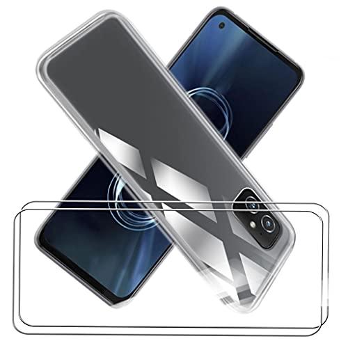 CXKJ Handyhülle für ASUS Zenfone 8 (5.92 Zoll) Silikon Hülle + [2 Stück] Panzerglas Schutzfolie, Transparent TPU Weiche Schutzhülle Bumper Hülle Handyhülle mit 9H Gehärtetes Glas Film