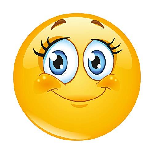 Mauspad mit Smiley-Motiv Lady I Ø 22 cm rund I Happy Emoticon Mousepad in Standard-Größe, rutschfest I Wimper Grinsen Smile I gelb süß I dv_344