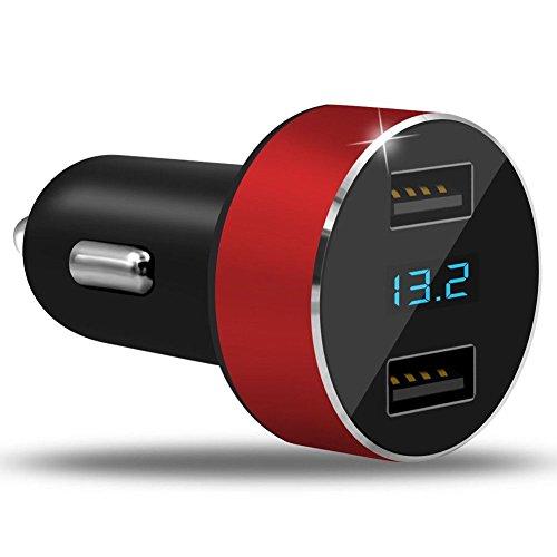 UGI Dual Ports Auto Ladegerät Adapter 3.1A USB Zigarettenanzünder Steckdose 12V/24V Digital LED Voltmeter für Handy Tablet Kamera und mehr Ladegeräte