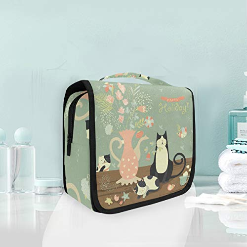 Mignons Chats Fleur Trousse De Toilette Sac Pliable Suspendu Cosmétique Sac Rangement Maquillage sacs pour Voyage Femmes Filles