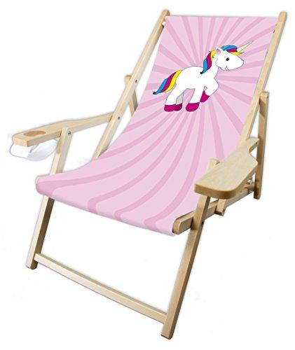 MultiBrands® Holz-Liegestuhl, mit Armlehne und Getränkehalter, klappbar, Einhorn rosa