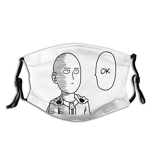 One Punch Man Face Masks Adult Anime Reusable Adjustable Cloth Washable Filter Black