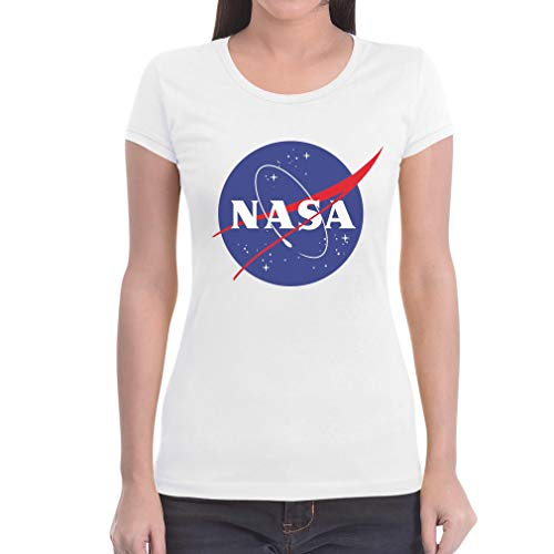 NASA Logo Galaxy Streetwear Outfit Maglietta da Donna Slim Fit Medium Bianco