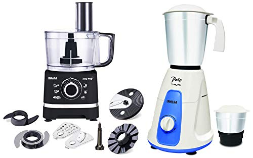 Inalsa Food Processor Easy Prep-800W with Processing Bowl & 7 Accessories,(Black) & Inalsa Polo 550-Watt Mixer Grinder with 2 Jars, (White/Blue)
