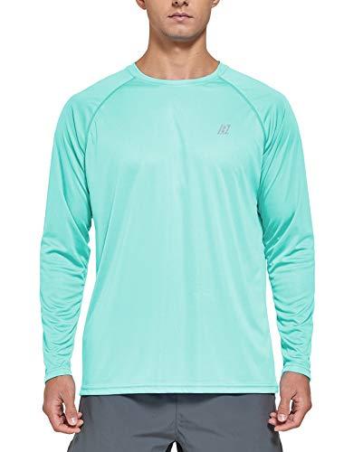 LABEYZON Men's Workout Long Sleeve Shirts Lightweight UPF 50+ UV Sun Protection Hiking Running Fishing T Shirts for Men (Mint Green M)