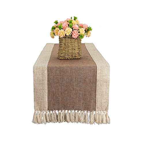 Bettery Home Camino de mesa rústico de tela de algodón con flecos hechos a mano, ideal para decoración de fiestas de boda, 15 x 70 pulgadas, color marrón