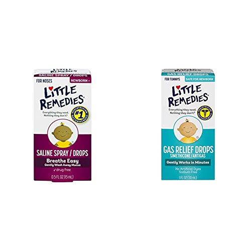 Little Remedies Stromach Gas and Nose Relief Pack (1-0.5 oz Saline Spray and Drops, 1-1 oz Gas Relief Berry Flavor Drops)