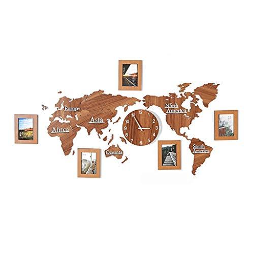 Yxx max * Wandklok Wandklok 3D Diy Kit Wereld Kaart Grote 5 Foto Muursticker Moderne Decoratieve Niet Ticking Woonkamer Decor Stille Batterij Bediende Hout Kwarts Huishoudelijke Klokken