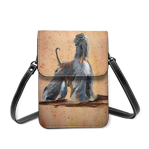 Afghan Hound Art Black Dog Leather Small Phone Bag Crossbody Cell Phone Purse For Women Cellphone Shoulder Bags Card Holder Wallet Purse With Adjustable Strap Gifts