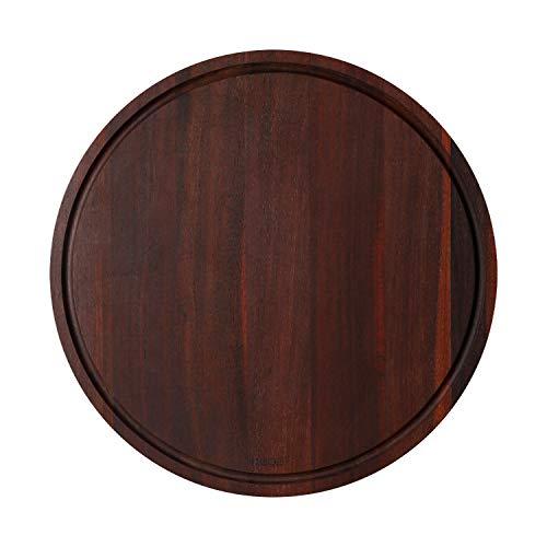 Hecef Tabla de cortar de madera de acacia redonda con ranuras de jugo, tabla de cortar y cortar madera dura ultra gruesa para carne, verduras, frutas y queso, 30,5 cm
