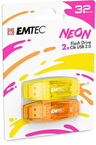 EMTEC C410 USB 2.0 Flash Drive 32 GB 5 MB/s Reading, 15 MB/s Writing, Compatible with USB 2.0, USB 3.0, Transparent Neon with Cap, Pack of 2