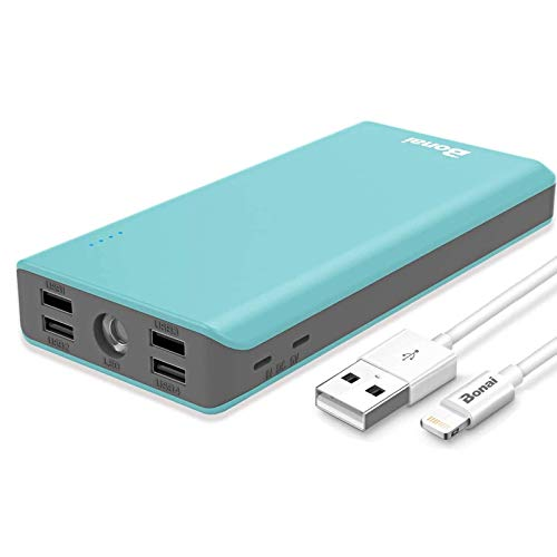 Solar Power Bank 30000mAh, BONAI Portable Charger Outdoor, Type C and Dual Micro Input, 4-Port and Type C Output, External Battery Pack with Flashlight for iPhone, Samsung, and More (Blue) (Orange)