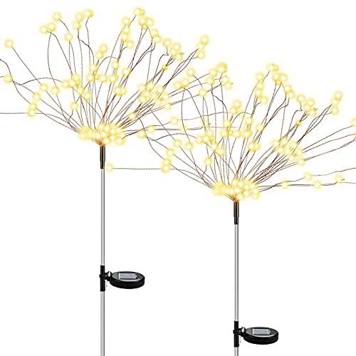 KNMY Luz Solar de Fuegos Artificiales, 2 Piezas de Luces de Jardín Solares Exterior, Con 120 LED Luces de árbol de Fuegos Artificiales, Luces de Paisaje Blanco Cálido, Camino de Decoración de Terraza