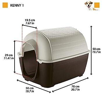 Ferplast Niche D'Extérieur pour Chiens Kenny 01, Habitat pour Chiens en Résine Thermo-Plastique, Résistant aux Chocs et Rayons Uv,50 X 78 X H 50 cm