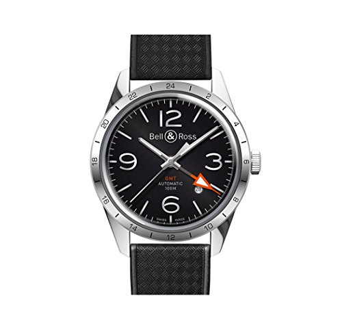 Bell and Ross Vintage Black Dial Black Rubber Mens Watch...
