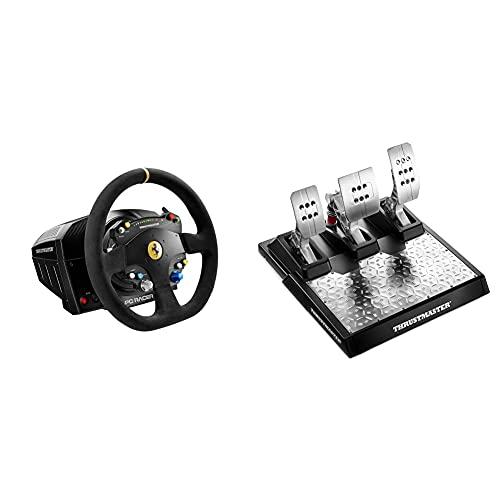"ThrustMaster Volante TS-PC Racer Ferrari 488 Challenge Edition Negro + T-LCM Pedals — Pedales Profesionales magnéticos y con ""Load Cell"" metálicos y Ajustables para PC, PS4 y Xbox One"