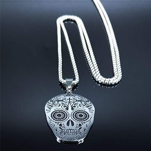 Alushisland Afawa Mexican Skull Stainless Steel Chain Necklace Women/Men Silver Color Necklaces Jewelry Acero Inoxidable Joyeria