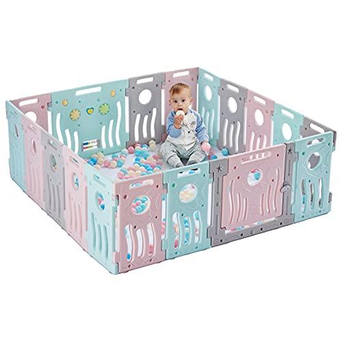 LONTEK Parque Infantil Bebé con seguridad, Corralito Bebé con Puerta y Pelotas para Niños de 0 a 6 Años, Interior y Exterior, con 18 Paneles (Ola, 16+2)