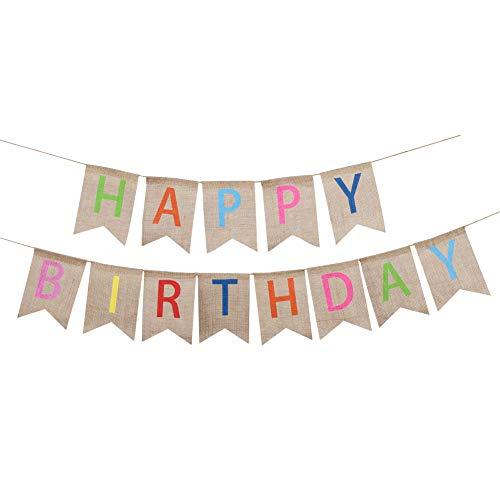 Soleebee Happy Birthday Geburtstag Sacwinzigen Banner, ideale DIY Dekoration Dreieck Flagge Wimpelkette für Hochzeit, Babydusche, Geburtstag, Party & Anderen Feiern (Bunt)