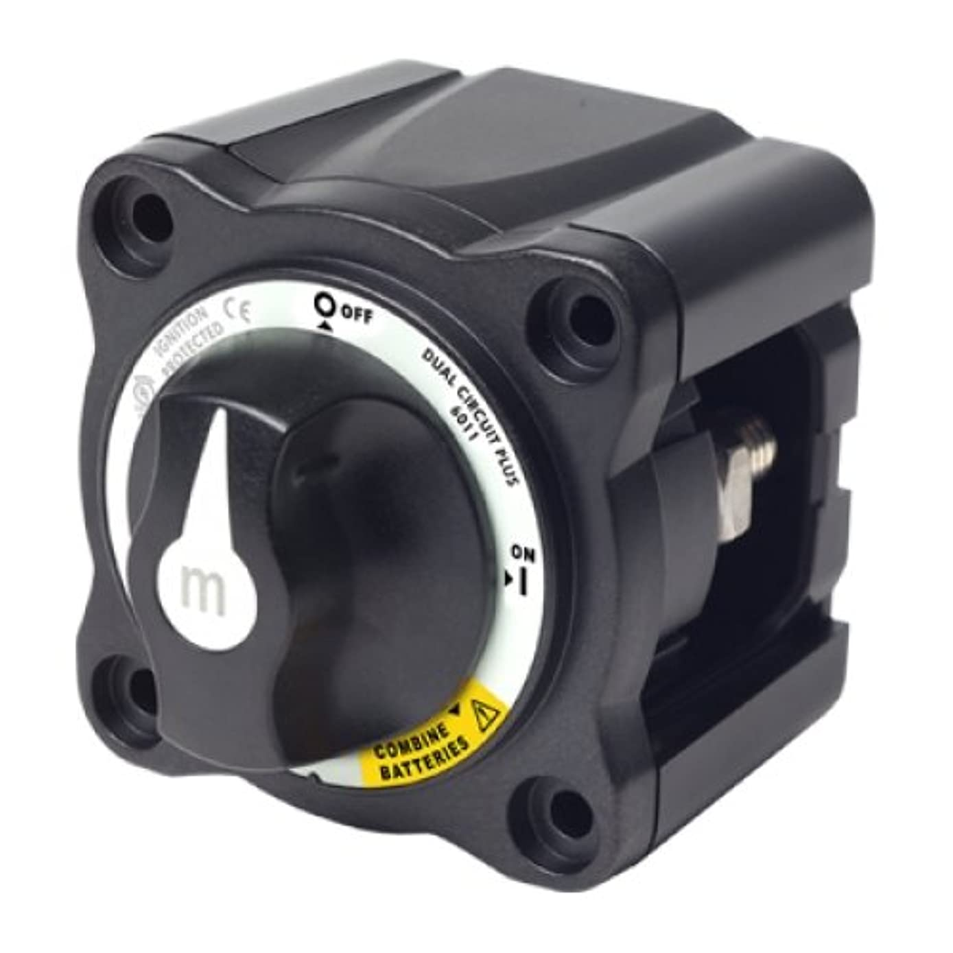 BLUE SEA SYSTEMS Mini Battery Switch, MFG# 6011200, Black, 300A cont., 500A int., 32VDC. Positions: two-circuit on-off with combiner / BS-6011200 /